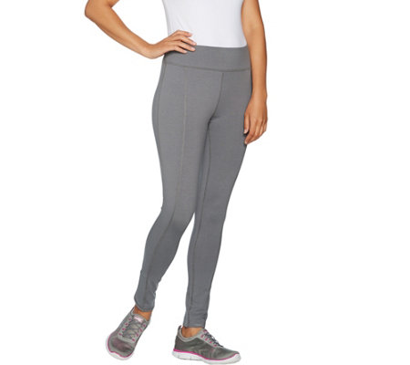 Denim & Co. Active Regular Pull-On Knit Ankle Leggings with Tulip Hem