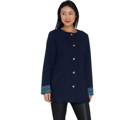 GRAVER Susan Graver Rib Knit Jacket with Cuff Detail