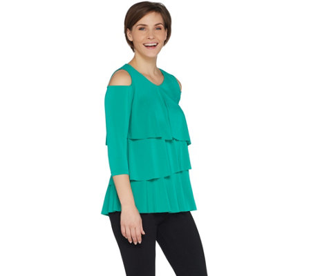 Every Day By Susan Graver Liquid Knit Cold Shoulder Tiered Top