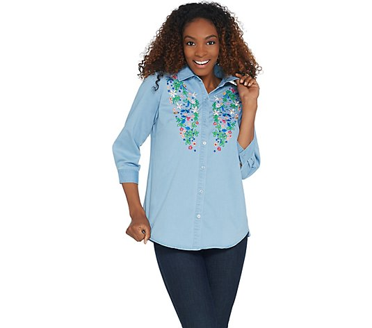 Joan Rivers Denim Shirt with Floral Embroidery