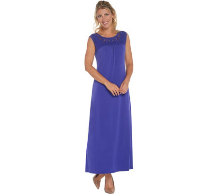 Susan Graver Regular Liquid Knit Maxi Dress w/ Macrame Detail