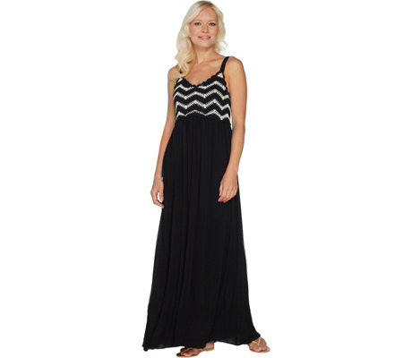 Du Jour Petite Sleeveless Crochet Bodice Maxi Dress