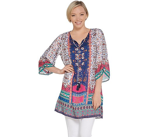 Tolani Collection Printed Woven Tunic w/ Front Tassels