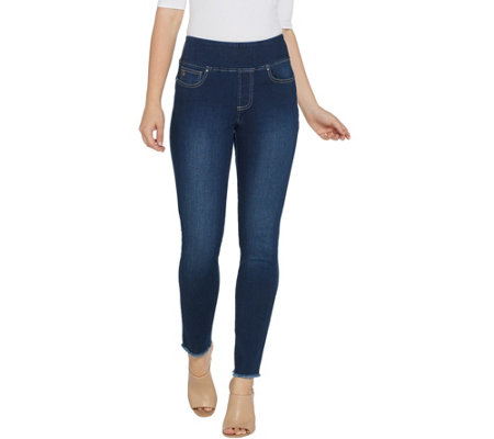Belle by Kim Gravel TripleLuxe Denim Frayed Jeggings Reg.