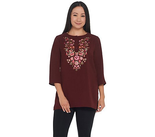 Linea by Louis Dell'Olio Crepe Gauze Top with Embroidery