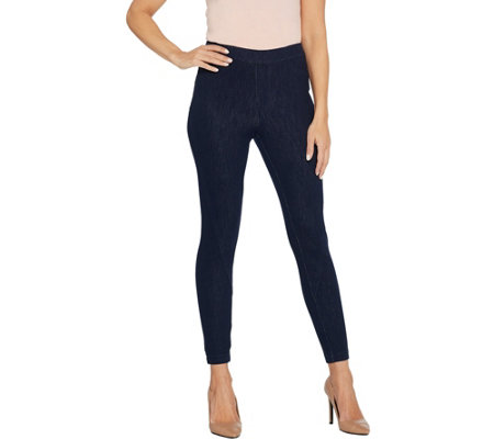 H by Halston Petite Knit Denim Ankle Pants with Forward Seam