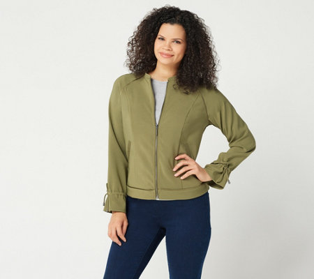 H by Halston Zip-Front Bomber Jacket with Drawstring Sleeves