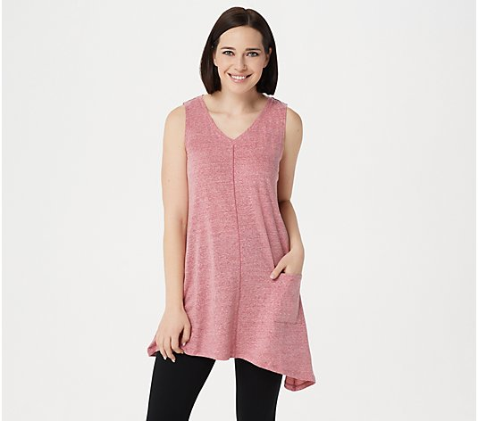 LOGO by Lori Goldstein Snow Yarn Knit V-Neck Tank w/ Asymmetric Hem