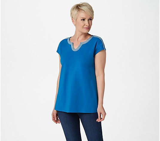 Denim & Co. Split V-Neck Top with Embroidery Detail