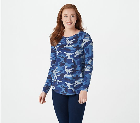 Attitudes by Renee French Terry Long-Sleeve Camo Top