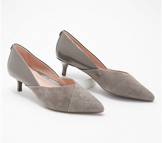 Taryn Rose Suede & Leather Kitten Heel Pumps - Nadine