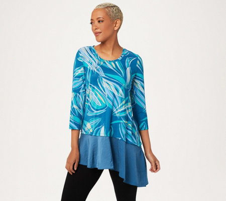 """As Is"" LOGO by Lori Goldstein Printed Rayon 230 Top with Satin Hem"