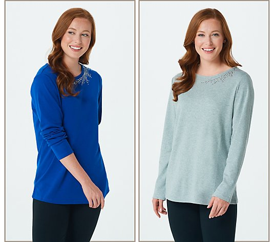 """As Is"" Quacker Factory Set of 2 Rhinestines and Pearl Spray Long Sleeve Top"