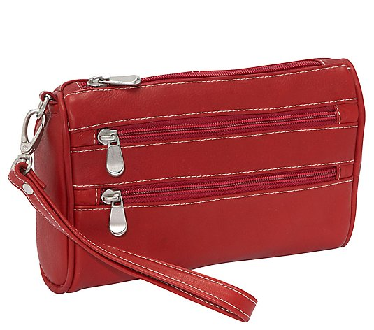 Le Donne Leather Two-Zip Wristlet Clutch