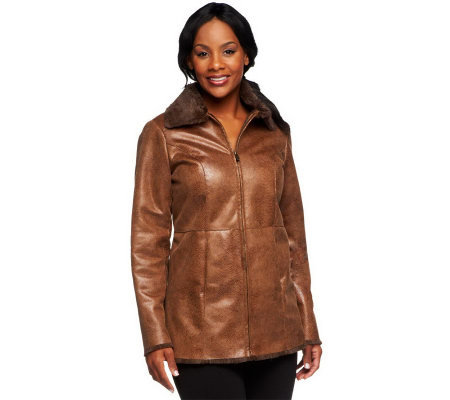 Dennis Basso Embossed Light Weight Faux Leather Jacket