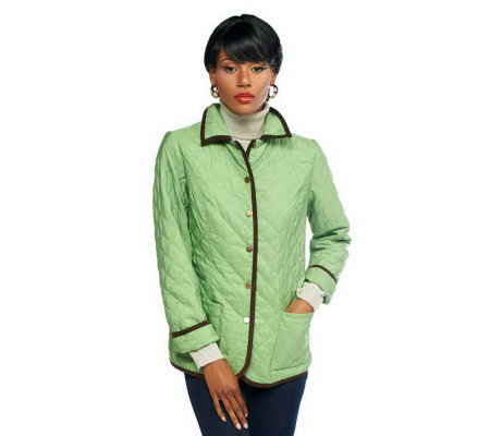 Joan Rivers Quilted Barn Jacket With Piping Detail Page 1 Qvc