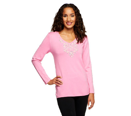 Quacker Factory Rhinestone and Pearl V-neck Pullover Sweater
