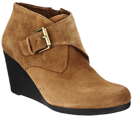 Isaac Mizrahi Live! Suede Ankle Boots with Buckle