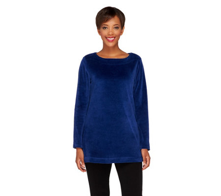 Susan Graver Velour A-Line Bateau Neck Long Sleeve Top