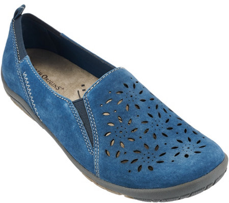 Earth Origins Suede Perforated Slip-on Shoes - Sugar