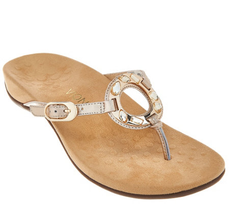Vionic Orthotic Leather Thong Sandals - Ricci