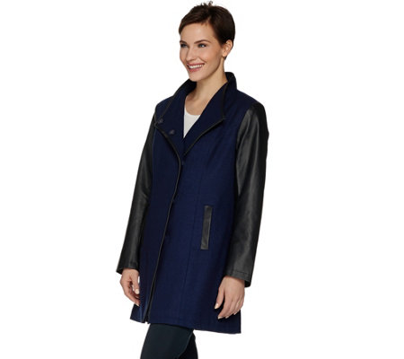Dennis Basso Envelope Collar Wool Blend & Faux Leather Coat