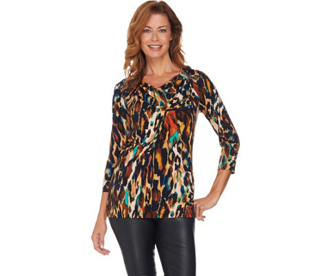 Susan Graver Artisan Printed Liquid Knit Drape Neck Top