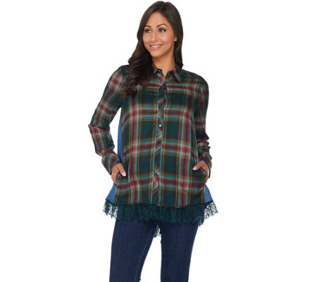 LOGO by Lori Goldstein Patchwork Button-Front Shirt