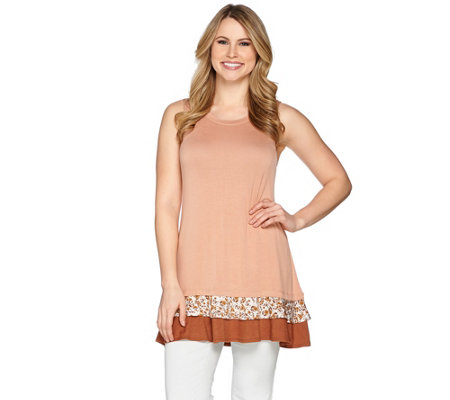 LOGO Layers by Lori Goldstein Knit Tank with Tiered Ruffle Trim