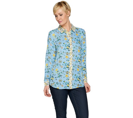 C. Wonder Mixed Floral Print Button Front Long Sleeve Blouse