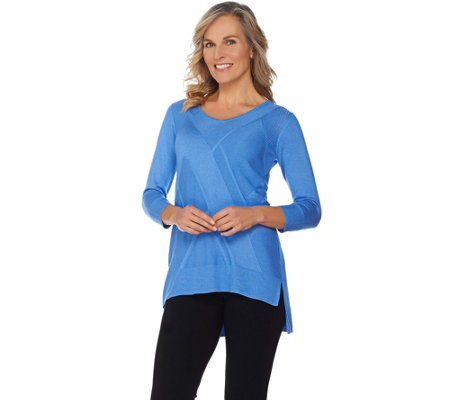 H by Halston 3/4 Sleeve Pullover Sweater with Stitch Details