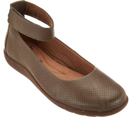 Clarks Leather Perforated Flats - Medora Nina