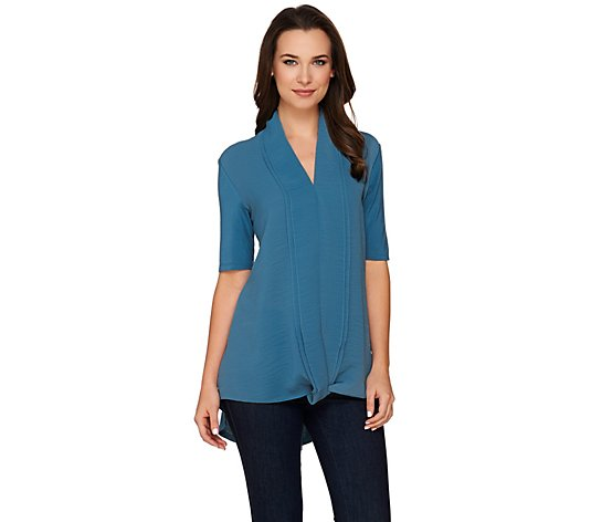 """As Is"" H by Halston Short Sleeve Knit Top with Chiffon Drape Front"