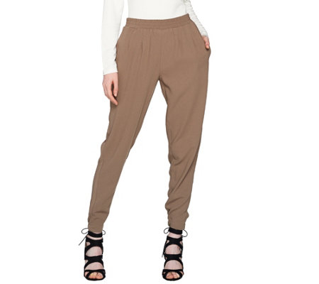 Lisa Rinna Collection Relaxed Crepe Trouser Pants