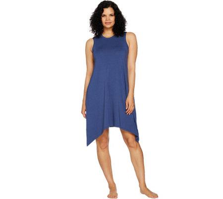 Anybody Loungewear Cozy Knit Sharkbite Swing Dress Page 1 Qvc
