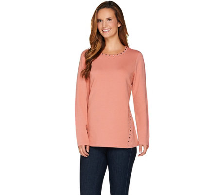 """As Is"" Denim & Co. Long Sleeve Round Neck Top with Stud Detail"