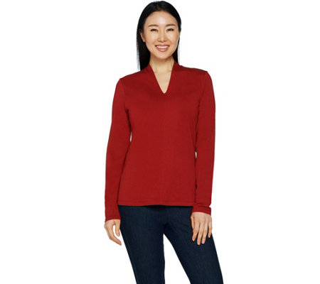 Denim & Co. Essentials Long Sleeve V-Neck Knit Top