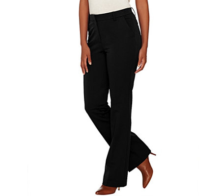 As Is Isaac Mizrahi Live Petite 24 7 Stretch Boot Cut Pants
