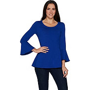 Isaac Mizrahi Live! Knit Scoop Neck Bell Sleeve Peplum Top - A299835