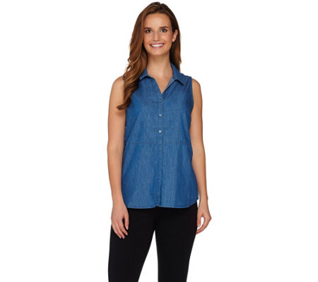 As Is Kelly By Clinton Kelly Button Front Denim Sleeveless Top