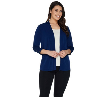 Every Day by Susan Graver Liquid Knit Cardigan with Lacing Detail