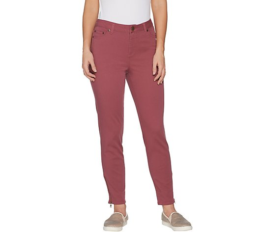 LOGO by Lori Goldstein Regular Stretch Twill Ankle Pant w/ Zips