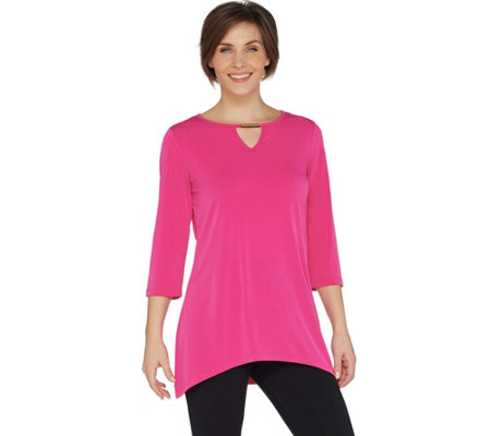 Belle by Kim Gravel Hi-Low Tunic with Keyhole Trim