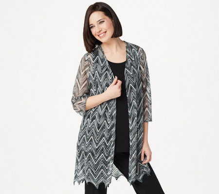 Susan Graver Chevron Novelty Knit Cardigan and Knit Tank Set