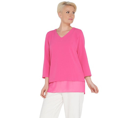 Linea by Louis Dell'Olio V-Neck Mixed Media Top