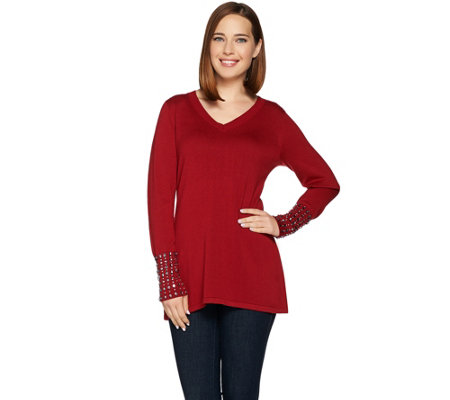 """As Is"" Belle by Kim Gravel Fit and Flare Sweater with Cuff Details"