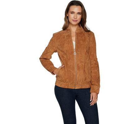 """As Is"" Dennis Basso Washable Suede Bomber Jacket"