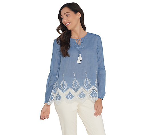Du Jour Woven Top with Lace Applique and Tassels
