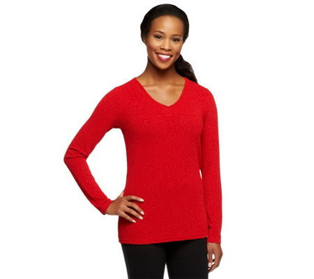 """As Is"" Linea by Louis Dell'Olio Texture Knit V-Neck Top"