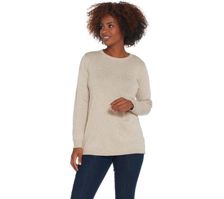 Joan Rivers Crew Neck Sweater with Back Button Detail